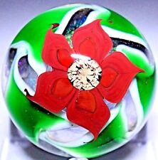 RARE Steven LUNDBERG Floral IMPORTANT Glass PAPERWEIGHT Gift 4 his WIFE w/ LOVE