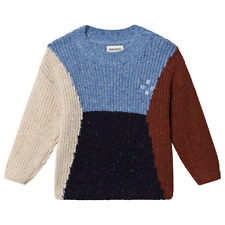 Bobo Choses Color Block Sweater Unisex Organic Cotton Knit Pullover Jumper 3-4