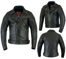 NEW STYLE BRANDO MEN PREMIUM A GRADE QUALITY LEATHER MOTORCYCLE JACKET NO BUCKLE