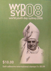 MINT 2008 WORLD YOUTH DAY P&S STAMP BOOKLET - BARCODE 729