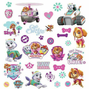PAW PATROL girl Pups wall stickers 30 decals SKYE Everest