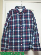 BNWT Abercrombie & Fitch Men's Plaid Twill Navy Shirt Small (S)