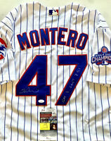 MIGUEL MONTERO Signed 2016 World Series Jersey WS GAME 7 LAST RBI Insc JSA COA