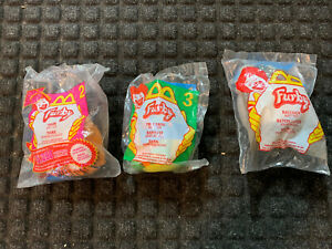 Lot of 3 McDonalds 2000 Happy Meal Furby Toys Raccoon, Tree Frog, And Tiger New