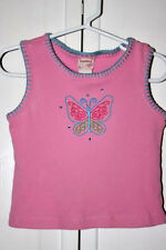 PINK SLEEVELESS TOP WITH EMBROIDERED BUTTERFLY - Size 4 Toddler