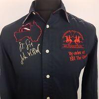 La Mertina AUSTRALIA Mens Shirt MEDIUM Long Sleeve Black Regular Fit  Cotton