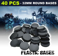 40PCS 32mm Warhammer Plastic Round bases for Miniatures Figures wargames Bases