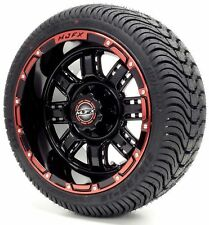 "Golf Cart Wheels and Tires Combo - 12"" Madjax Transformer Black/Red - Set of 4"