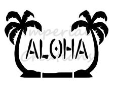 """""""Aloha"""" Hawaiian Palm Trees Beach Hello 8.5"""" x 11"""" Stencil Plastic Sheet New S34"""