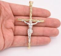 "3.5"" Huge Jesus Christ Crucifix Cross Pendant Charm Real 10K Yellow White Gold"