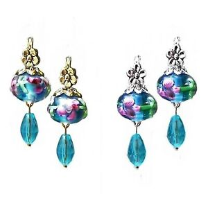 Earrings Aqua Blue lampwork and crystal drop, choose clip on or pierced