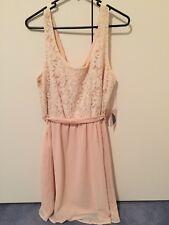 Peach dress, floral lace, flowy, tie, zipper, summer, L