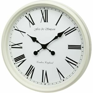 FOX AND SIMPSON LARGE 50CM GRAND CENTRAL STATION WALL CLOCK IN CREAM