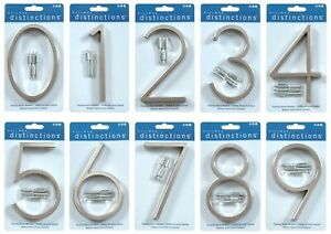 "Hillman Modern 5"" Floating or Flush Mount House Address Numbers Satin Nickel"
