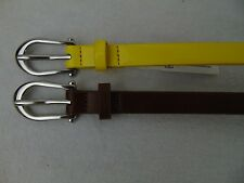Style & Co SC851 2-For-1 Skinny Belts Yellow, Brown Silver Buckle Medium #827