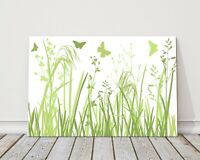 wild flowers and butterflies green and white butterfly canvas picture print
