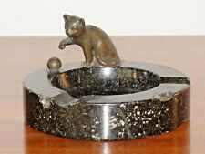 Antique austrian bronze cat and his wool ball on a black granite stone ashtray