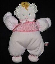 Rosalina Baby Plush Doll Lovey Pink Blond Hair Bonnet Soft Smocked Romper MINT