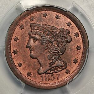 1857 PCGS MS 64 RB Braided Hair Half Cent Coin 1/2c