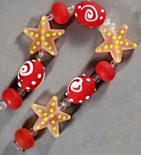 """HANDMADE 'SEA' BEACH FROSTED GLASS BEADS PINK STAR RED OVAL RONDELLE 8"""" STR"""