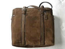 NEW Coach Rich Choco Brown Suede Patent Trim LG Gallery Book Tote Bag Purse RARE