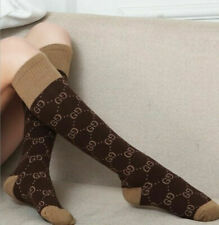 Hot ! Gg cotton Brown socks double G design one size fit 100% new