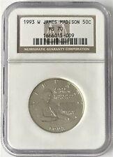 1993 W James Madison 50C Silver Commemorative Half Dollar NGC MS70