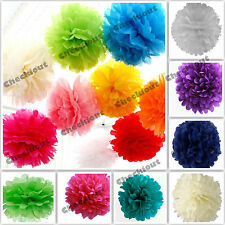 "10X Tissue Paper Color 4"" 8"" 12"" pom pom Flowers Wedding Party Craft Decoration"