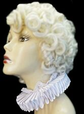 White Satin Lace Elizabethan Neck Ruff Ruffled Collar Victorian Steampunk Alice