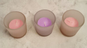 One Purple and Two Pink Scented Votive Candles With Candle Holders Set of 3