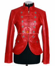 Scarlett Red Ladies Military Designer Real Waxed Lambskin Leather Fashion Jacket