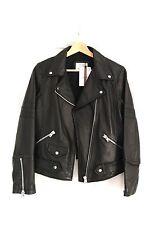 Zara Noir en Cuir Véritable Veste de motard Taille EU Large (12) NEUF avec étiquettes