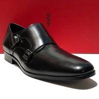 HUGO BOSS Double Monk Strap 12 45 Men's Black Leather Dress Formal Oxford Casual