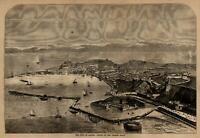 Ancona Italy harbor coast birds-eye city view 1860 Harper's Weekly woodcut print