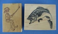 2 Rubber Stamps Barefoot Fisherman Fish PSX Art Gone Wild Wood Mounted