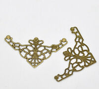 50 New Bronze Tone Filigree Triangle Wraps Connectors