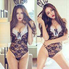 Sexy BODYSUIT cosplay Bunny Girl Underwear Teddy + hat + gloves Sex Toys VF280