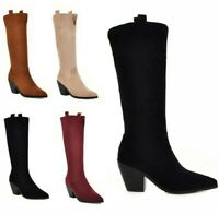 Europe Ladies Pointy Toe Suede Knee High Boots Block Heels Pull On Cowboy Shoes