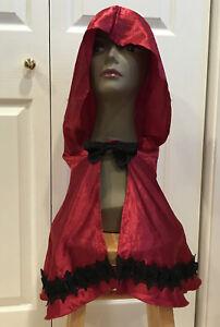 Hooded Capelet / Short Cape Costume Bow Tie Red Satin ~ Black Lace Trim Sz L