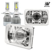 "4""x6"" Sealed Beam Headlight Conversion Chrome Clear lens + 100W H4 CREE LED Kit"