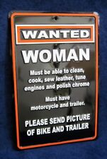 WANTED WOMAN with Motorcycle - *US MADE* Embossed Tin Sign - Man Cave Garage Bar