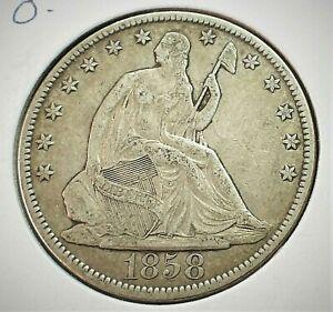 1858-O USA Seated Liberty Silver Half Dollar XF Condition  (001)