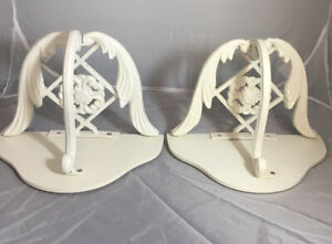 2 Shabby Chic Wall Shelves w Flower Leaves Ornate Wrought Iron w Wooden Tops