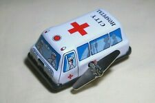 """Vintage Tin Toy New Sanko Metal 3"""" Wind Up Auto Turn Ambulance Car Made in Japan"""