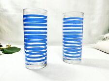 Vintage Ocean Glasses Collins Blue Stripes Glassware Barware Bar Striped Set/2