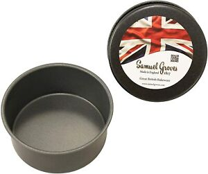 "2x 6"" Deep Round Cake Tins Superior Non Stick Fixed Base Bakeware"