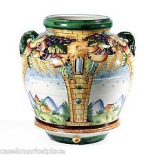 INTRADA Italian Ceramic Majolica Decorato Large 4 Panel Urn & Jar Made in Italy