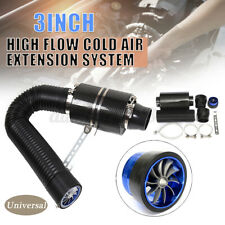 "Universal Car 3"" Cold Air Filter Feed Enclosed Induction Intake Pipe + Turbo Fan"