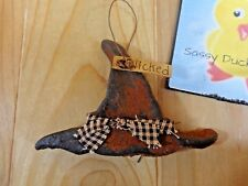 "Halloween Ornament WICKED WITCH HAT 5"" Rustic Brown Black Clay Pottery"