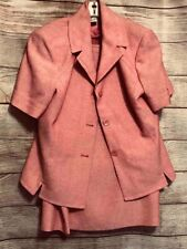 NY Collection Womens Skirt Jacket Set Pink Notch Lapel Short Sleeve Suit 2P